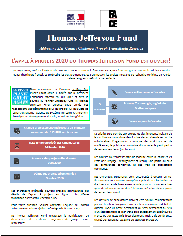Appel à projets Thomas Jefferson Fund