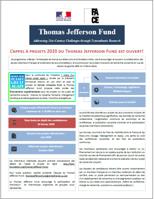 Call for projects Thomas Jefferson Fund
