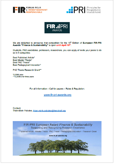 Call for papers FIR-PRI Awards 2020