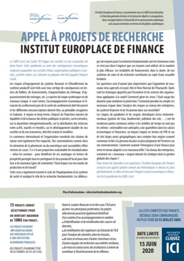 Appel à projets IEF 2020
