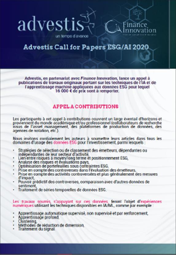 Advestis Appel à publications ESG I AI 2020