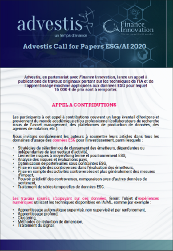 Advestis Call for Papers ESG I AI 2020 (FR)
