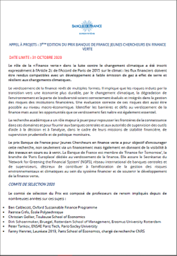 Call for projects 3rd edition of the Banque de France