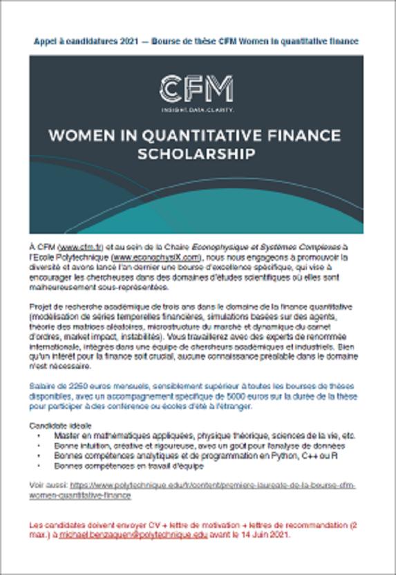 Appel à candidatures 2021 - Bourse de thèse CFM Women in quantitative finance