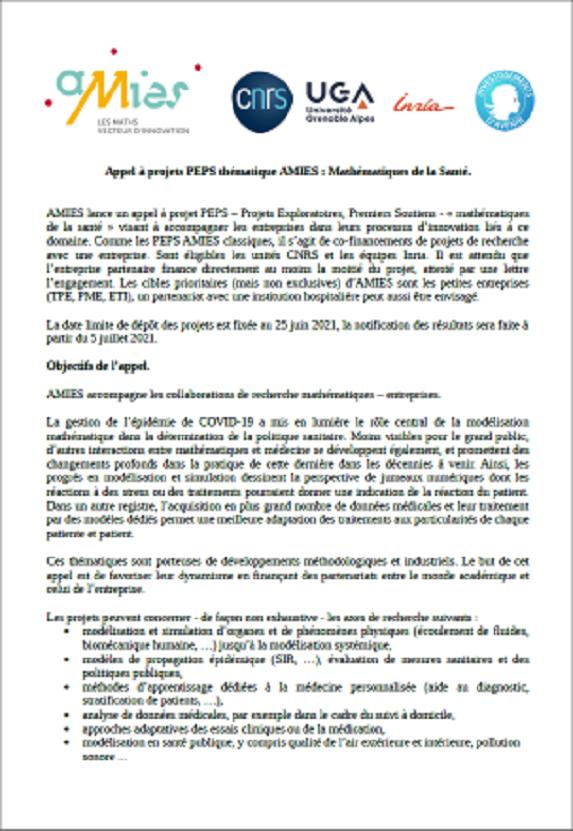 Appel à projets PEPS thématique AMIES Mathématiques de la santé 2021
