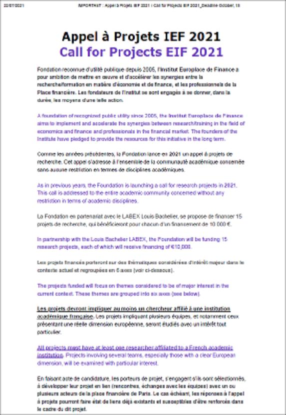 Appel à projets IEF 2021