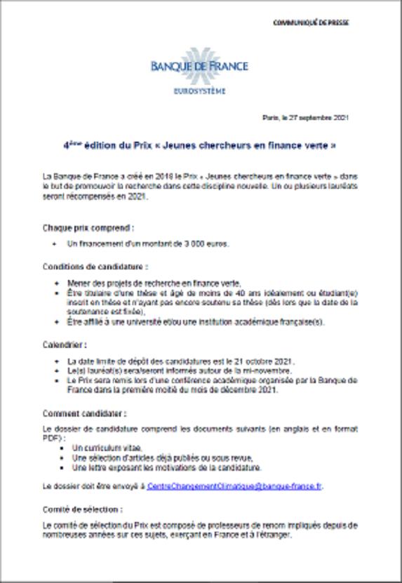 4ème édition du Prix « Jeunes chercheurs en finance verte », Banque de France